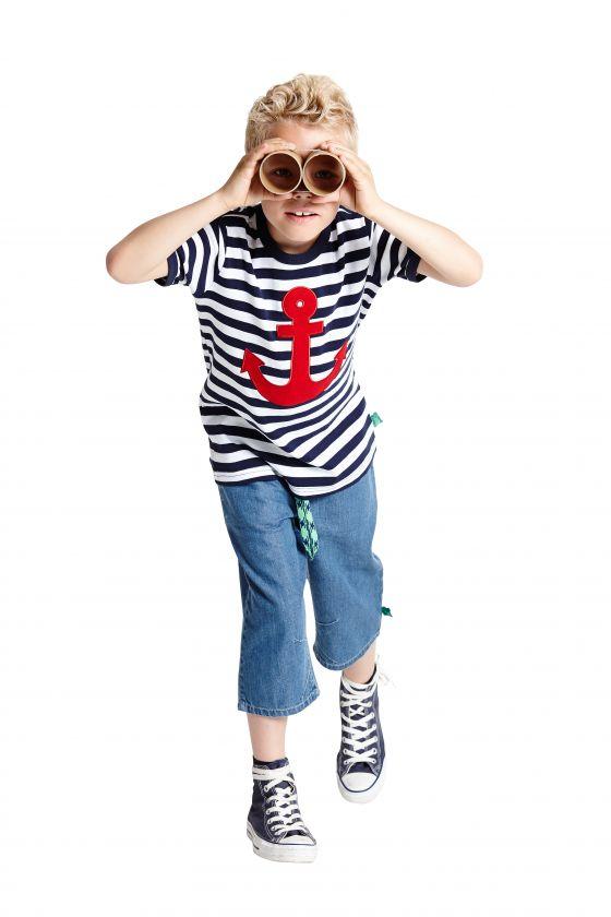 autorisierte Website verschiedene Stile feine handwerkskunst Jumpsuit und Shirt blau-weiß-gestreift mit Schiffchen bzw. Anker