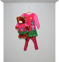 Kleid-Legging-Set girl + Teddy pink mit Bären