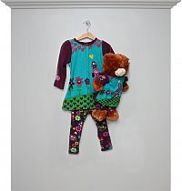 Kleid-Legging-Set girl & Teddy türkis-lila - mit Bären